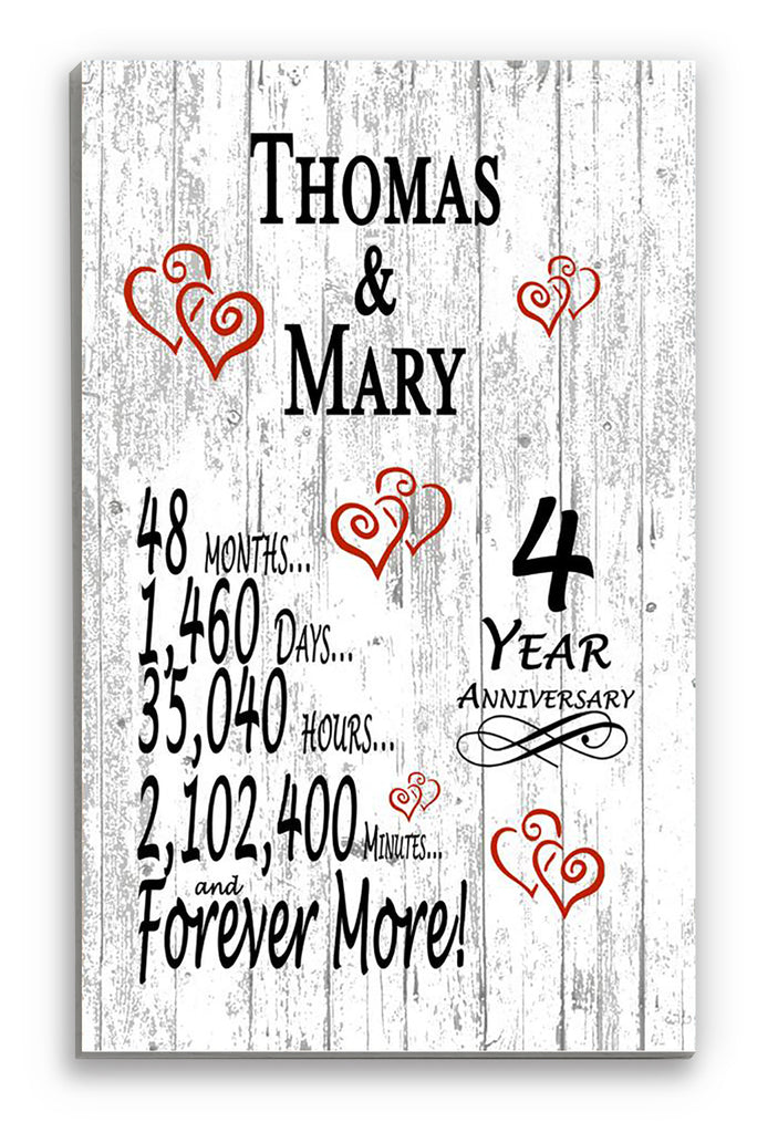 4 Year Anniversary Gift Personalized Names SHIPPED SAME DAY Plank Farmhouse Style 4th