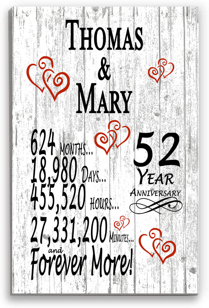 52 Year Anniversary Personalized Gift