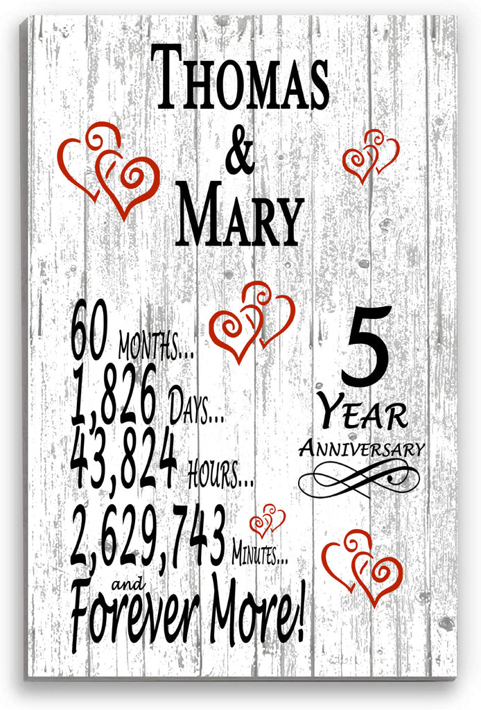 5 Year Anniversary Gift Personalized Names SHIPPED SAME DAY Plank Farmhouse Style 5th