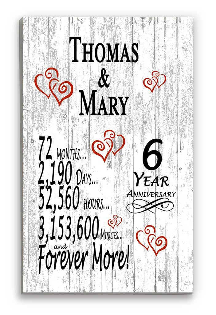 6 Year Anniversary Gift Personalized Names SHIPPED SAME DAY Plank Farmhouse Style 6th