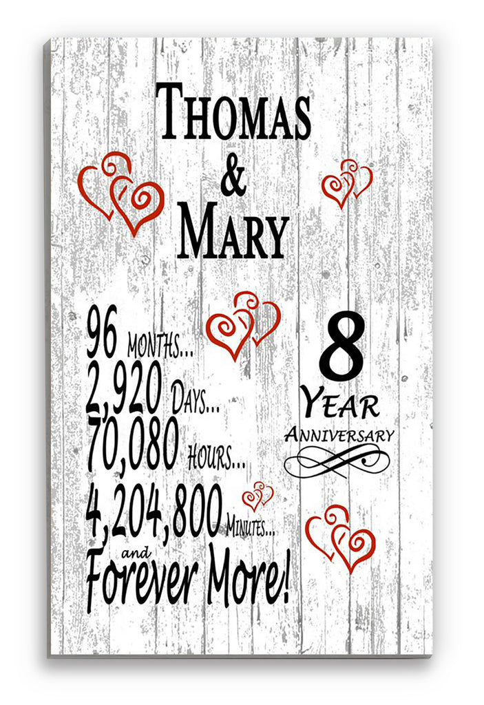 8 Year Anniversary Gift Personalized Names SHIPPED SAME DAY Plank Farmhouse Style 8th Anniversary