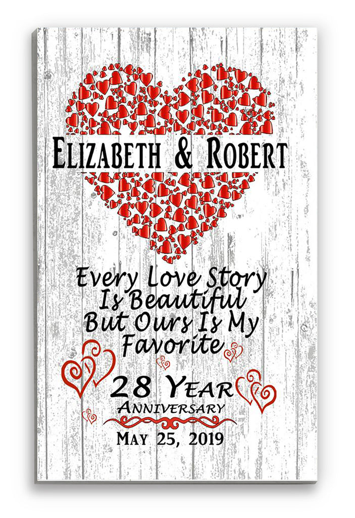Personalized 28 Year Anniversary Gift Sign SHIPPED SAME DAY For Husband or Wife - Him Her or A Couple