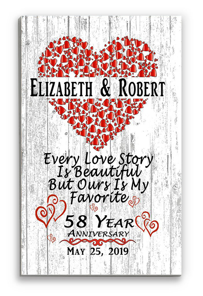 Personalized 58 Year Anniversary Gift Sign SHIPPED SAME DAY For Husband or Wife - Him Her or A Couple