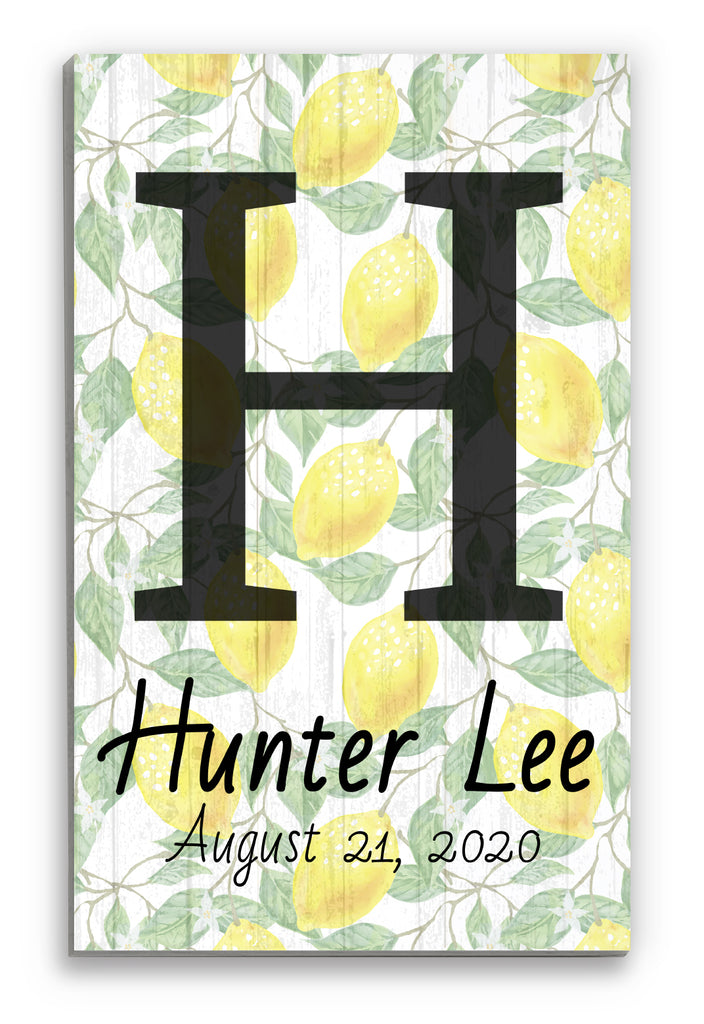 Lemon Chic Custom Kids Monogram Name Sign Nursery Room Wall Art