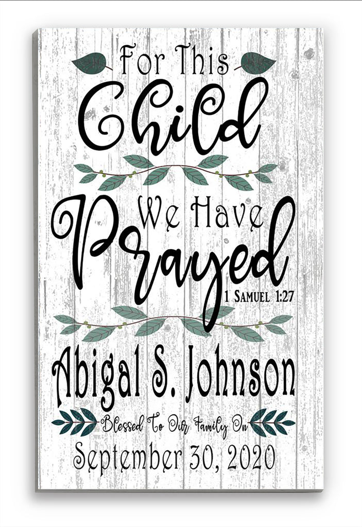 Personalized Nursery Decor Gift Sign CUSTOM Newborn Boy or Girl Gift Hanging Wall Art 1 Samuel 1:27
