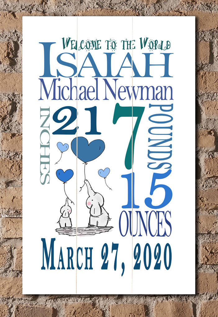 Personalized New Baby Boy Gift Wall Art Nursery Decor for Newborn White Sign
