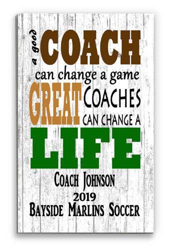 Personalized Coach Gift Sign - FOR ANY SPORT COACH'S Award