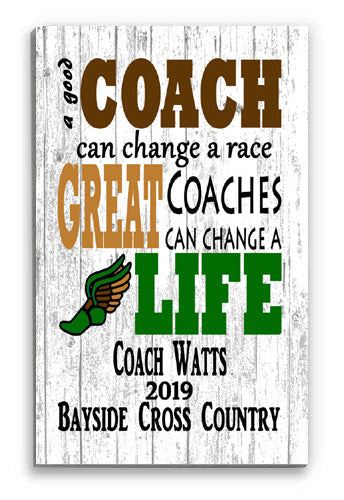 Cross Country Coach Gift Sign PERSONALIZED for Great Coaches
