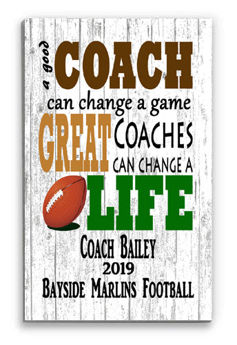 Personalized Football Coach Gift - PERSONALIZED Sign for Great Coaches
