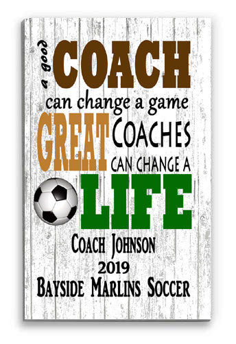 Personalized Soccer Coach Gift Sign Gift FREE 2 DAY SHIPPING!