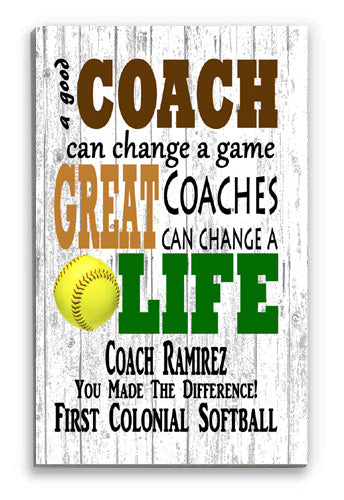 Personalized Softball Coach Gift Sign for a GREAT COACH