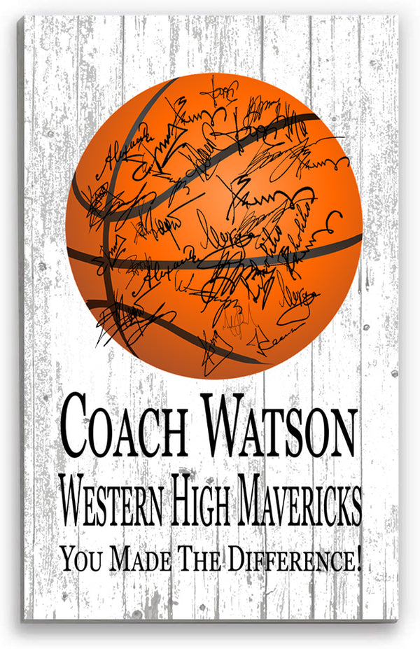 Basketball Coach Gift Personalized SIGNABLE Sign