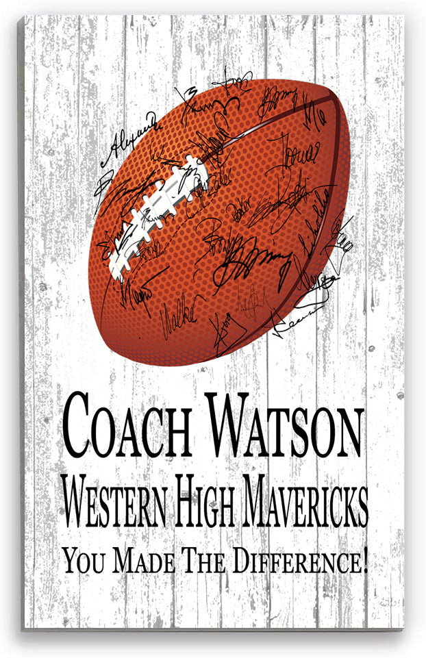 Football Coach Gift Personalized SIGNABLE Sign