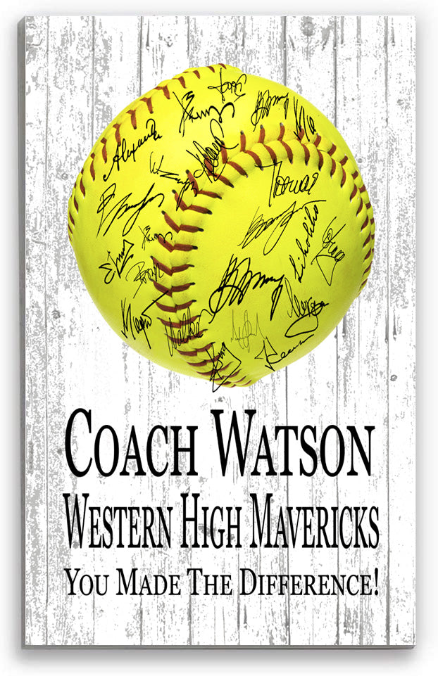 Softball Coach Gift Personalized SIGNABLE Sign