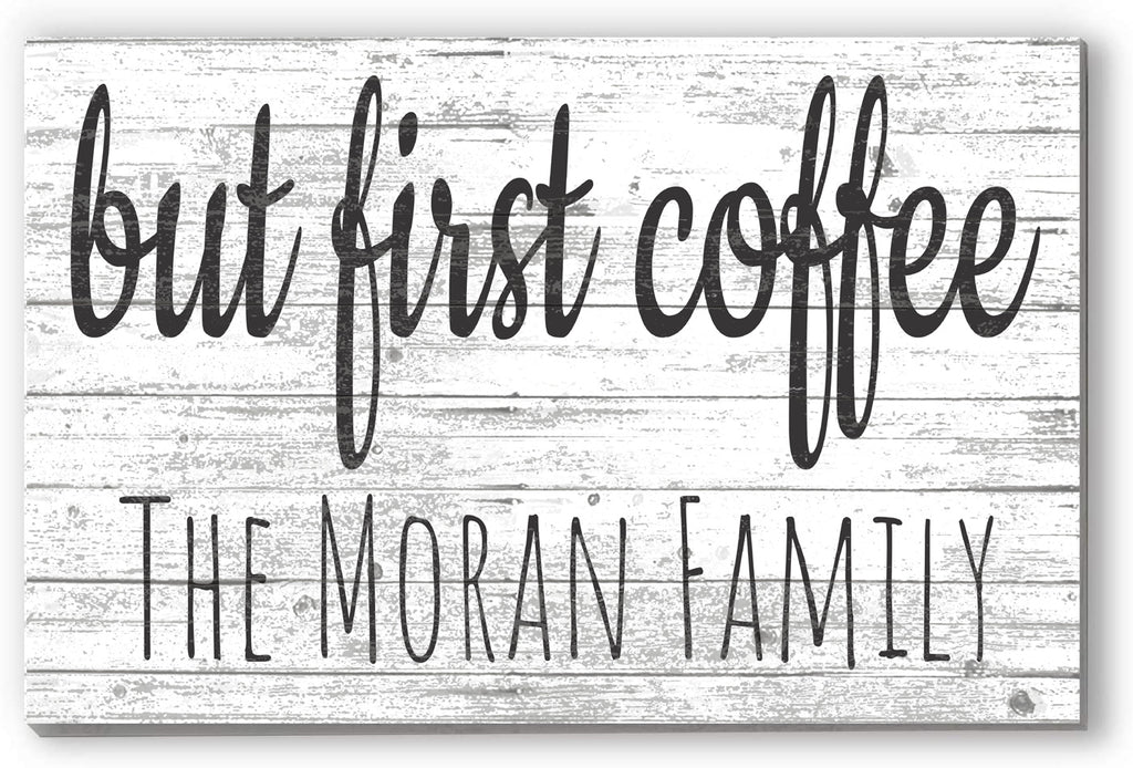 Customized Name Sign But First Coffee Personalized Wood Farmhouse Wall Décor for Kitchen, Coffee Bar, Home Office Gift Idea