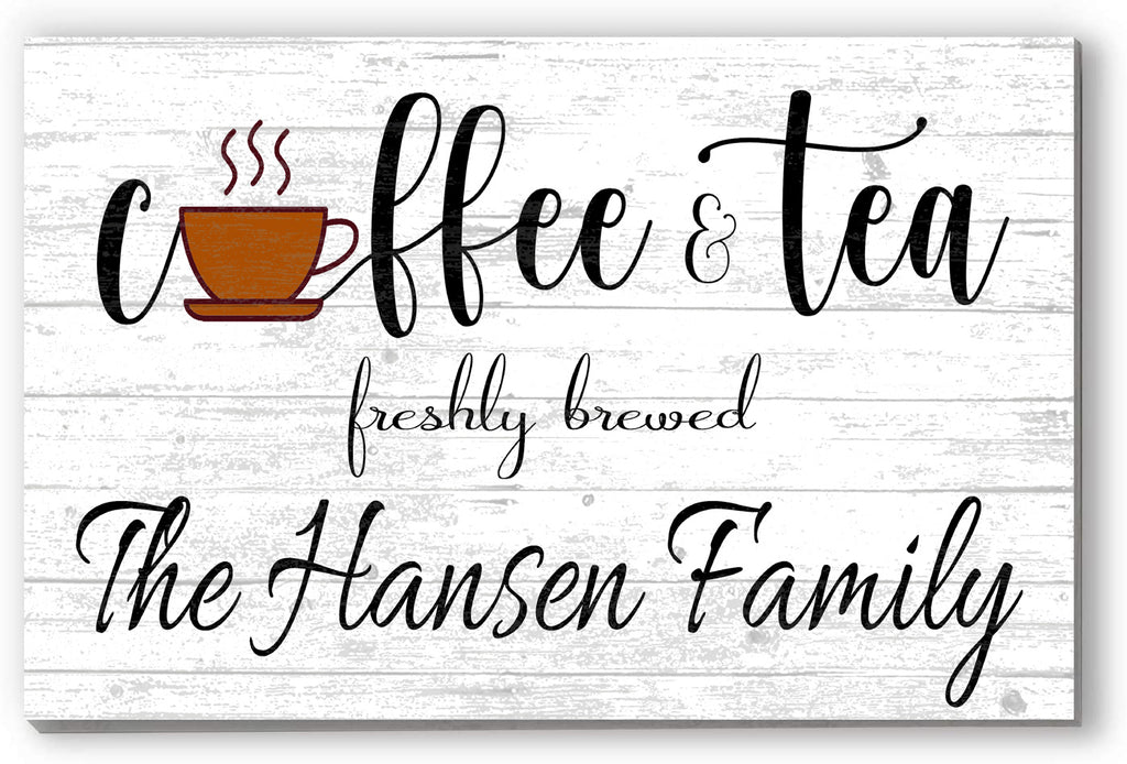 Personalized Coffee Bar Customized Sign Wood Farmhouse Wall Décor for Kitchen, Coffee & Tea Bar, Home Office Gift Idea