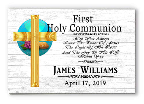 Personalized 1st Communion Gift First Holy Communion for Boys or Girls White Sign