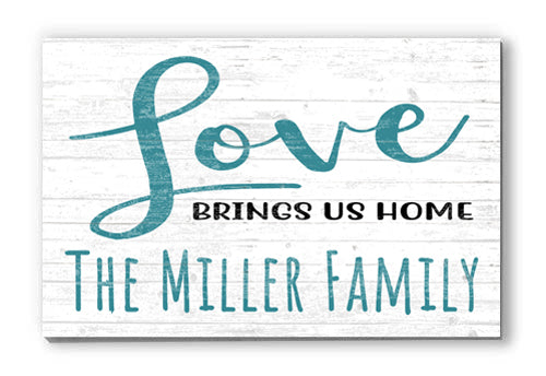 Customized Name Sign Love Brings Us Home Personalized Wood Farmhouse Décor for Home, Anniversary, Wedding, Couples Gift Idea