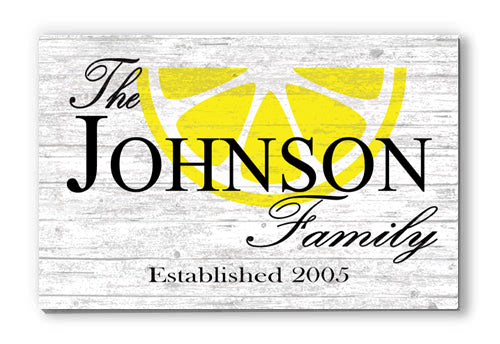Personalized Lemon Family Name Décor Customized Wood Farmhouse Sign for Home, Birthday, Anniversary, Wedding, Couples Gift Idea