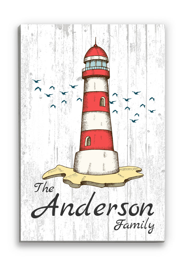 "Red Nautical Family Name Sign Personalized Lighthouse Wall Art Design Decor - 16.5"" x 10.5"""