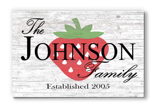 Personalized Strawberry Summer Seasonal Décor Customized Wood Sign for Home, Birthday, Anniversary, Wedding, Couples Gift Idea