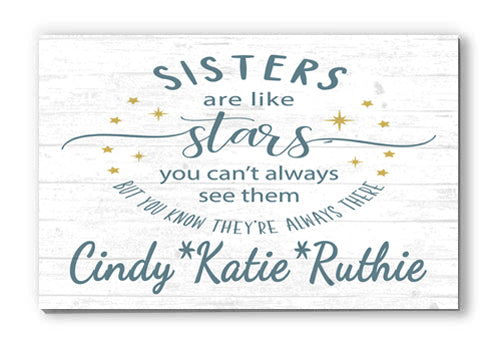 Customized Name Sign Sisters are Like Stars Personalized Wood Farmhouse Décor for Home, Birthday, Mother's Day Idea