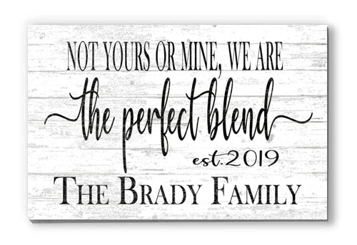 Customized Perfect Blend Personalized Blended Family Sign on Solid Wood, Mother's Day, Father's Day, Wedding, Anniversary Gift Idea