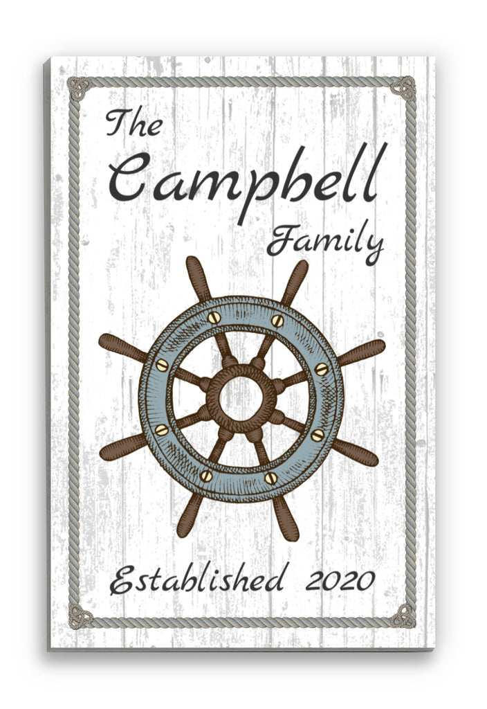 "Nautical Family Name Sign Personalized Sailor Ship Wheel Wall Art Decor - 16.5"" x 10.5"""