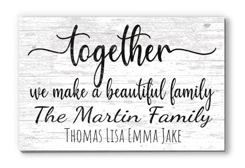 Custom Family Sign With Names Personalized Farmhouse Decor Wedding Gift