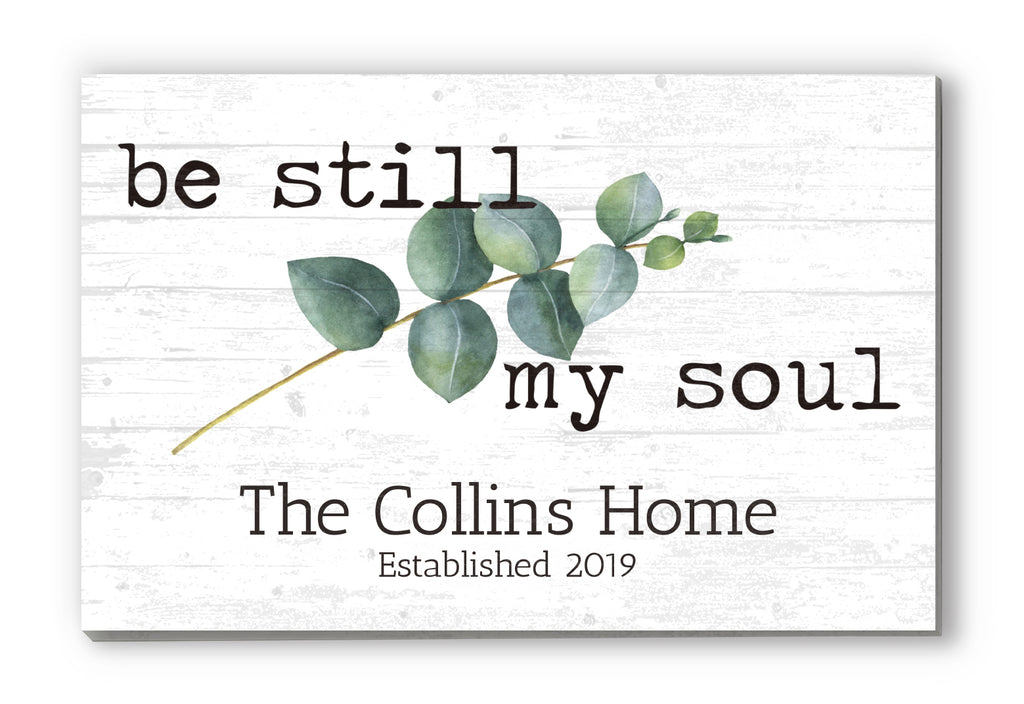 "Family Name Sign Personalized Gift Farmhouse Decor ""Be Still My Soul"" Wood Quote Wall Art - 16.5"" x 10.5"""