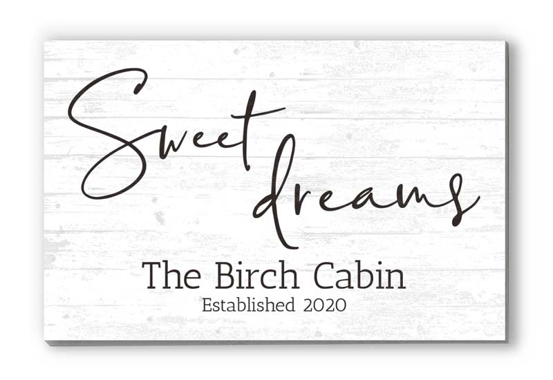 """Sweet Dreams"" Personalized Farmhouse Decor Solid Wood Quote Family Wall Art - 16.5"" x 10.5"""