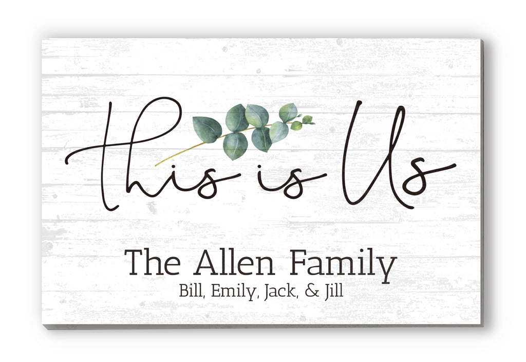 "This Is Us Personalized Family Name Sign Custom Wood Farmhouse Style Decor With Names - 16.5"" x 10.5"""
