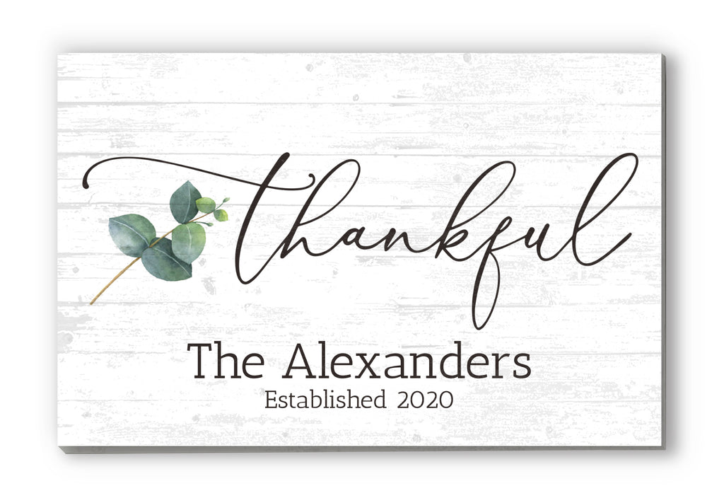 "Custom Family Name Sign Personalized Gift Farmhouse Decor ""Thankful"" Wood Quote Wall Art - 16.5"" x 10.5"""