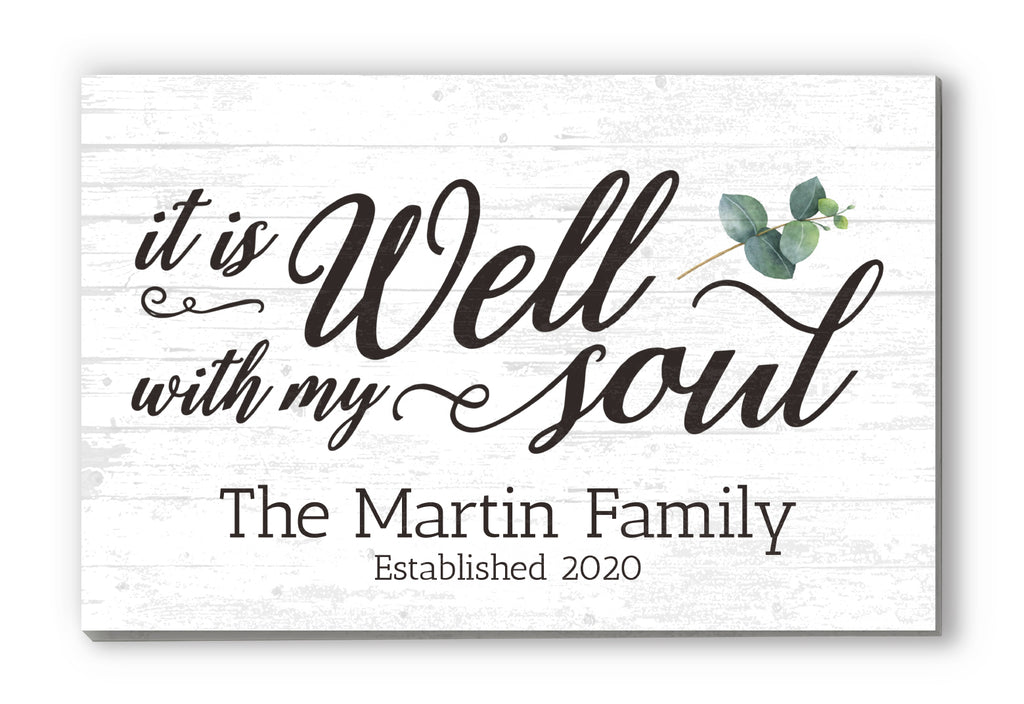 """it is Well with My Soul"" Personalized Farmhouse Decor Solid Wood Quote Sign Wall Art - 16.5"" x 10.5"""