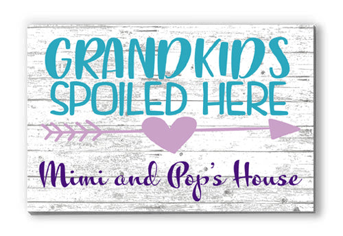 Customized Name Sign Grandkids Spoiled Here Personalized Wood Farmhouse Décor for Home, Grandparents, Grandma, Grandpa Gift Idea