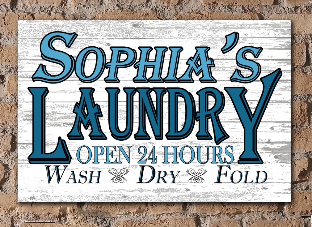 PERSONALIZED Laundry Room Sign Farmhouse Style Rustic Wall Art Custom Name Design