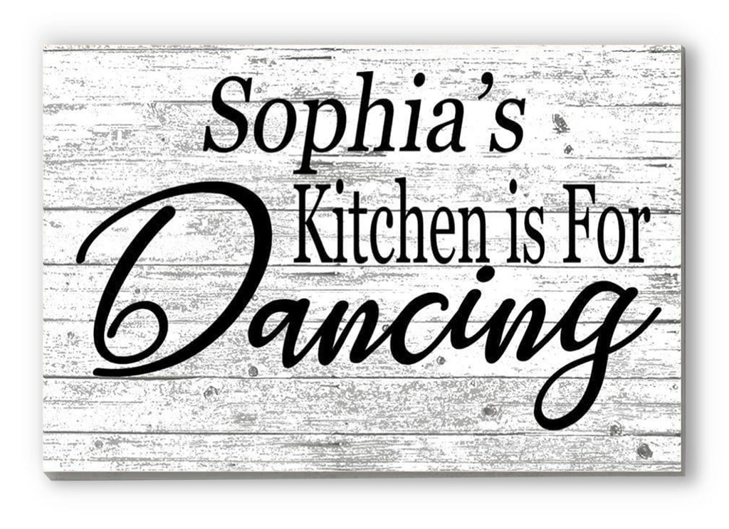 Custom Kitchen Sign Farmhouse Wall Art Personalized Gift for Men Women Cooks Chefs - This Kitchen is for Dancing