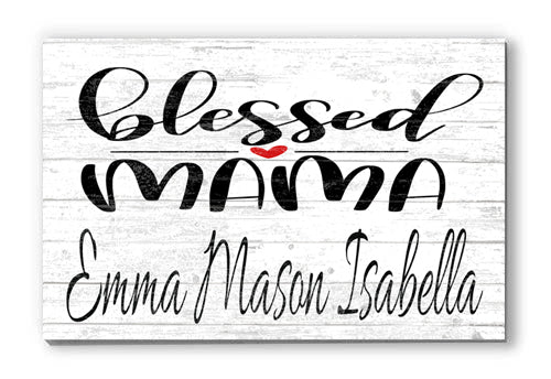 Customized Name Sign Blessed Mama Personalized Wood Farmhouse Décor for Home, Mother's Day, Anniversary, Birthday Gift Idea