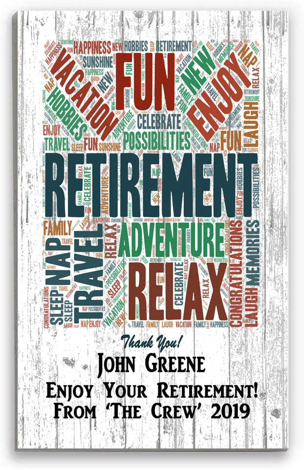 Personalized Retirement Rustic Word Art Sign Gift for Men or Women!