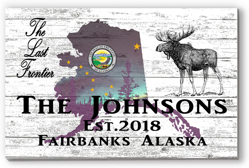 Alaska Home Sign Farmhouse Style Personalized Family Name - New Home State Wall Art Housewarming Gift!