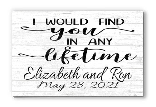 Customized Name Sign I Would Find You Personalized Wood Farmhouse Décor for Home, Anniversary, Wedding, Couples Gift Idea
