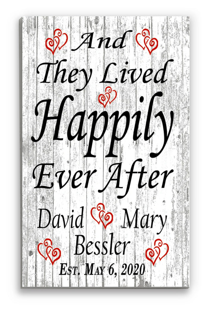Wedding Gift Sign Personalized Happily Ever After Established Farmhouse Style Sign Customized for Newlywed Couple EST. Date