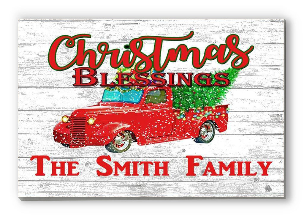 Christmas Family Name Sign with Red Truck and Christmas Tree Rustic Farmhouse Style Sign