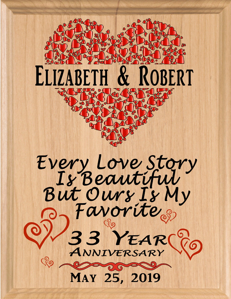 Personalized 33 Year Anniversary Gift Sign Every Love Story