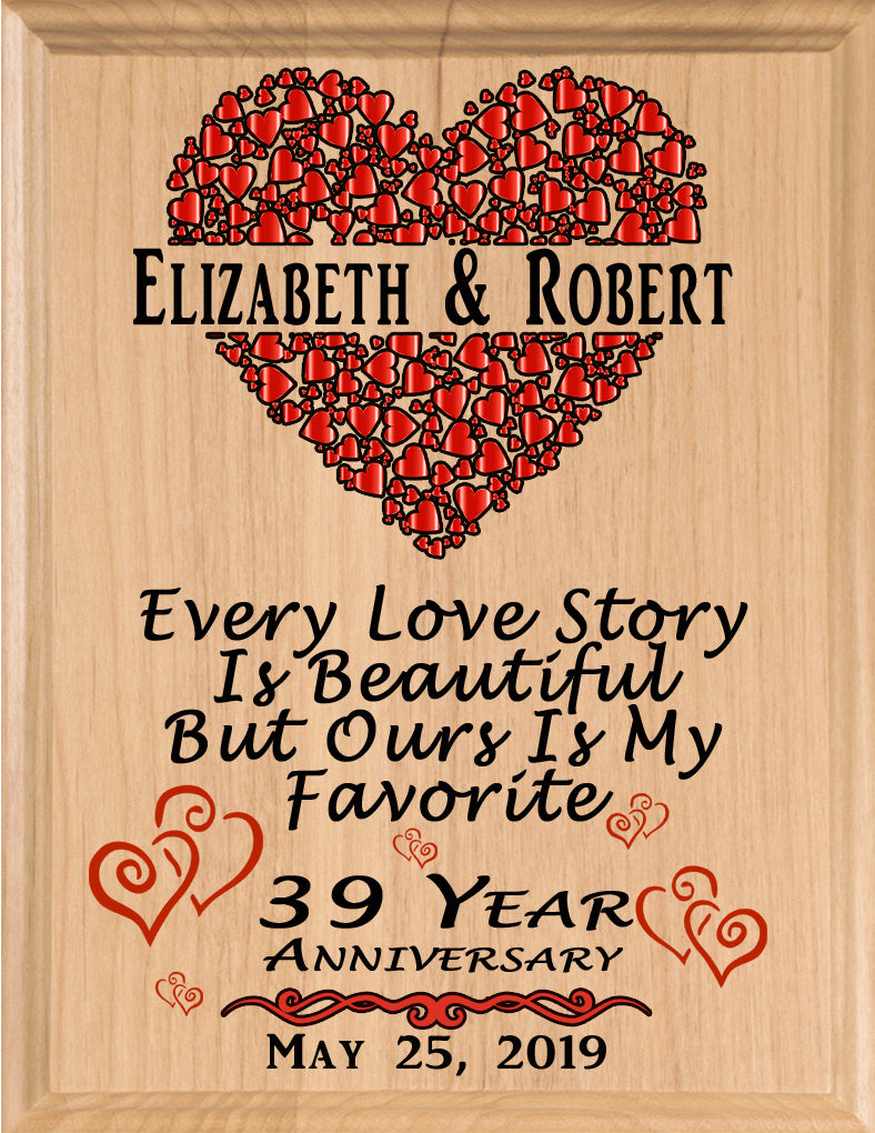 Personalized 39 Year Anniversary Gift Sign Every Love Story