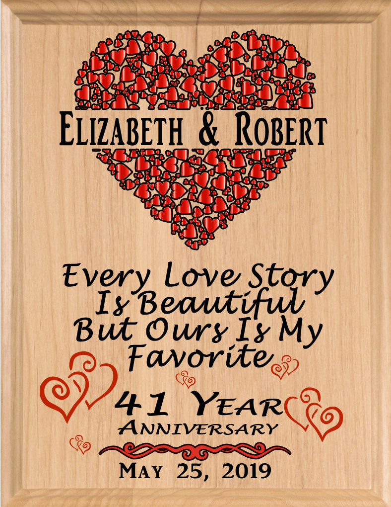 Personalized 41 Year Anniversary Gift Sign Every Love Story