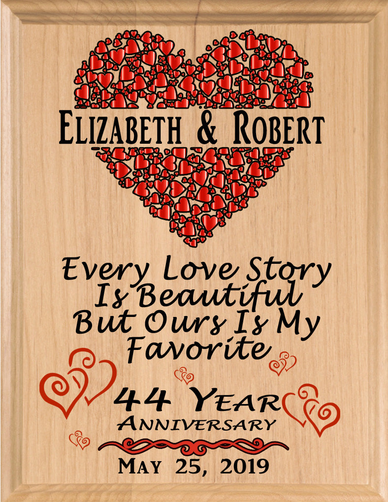 Personalized 44 Year Anniversary Gift Sign Every Love Story