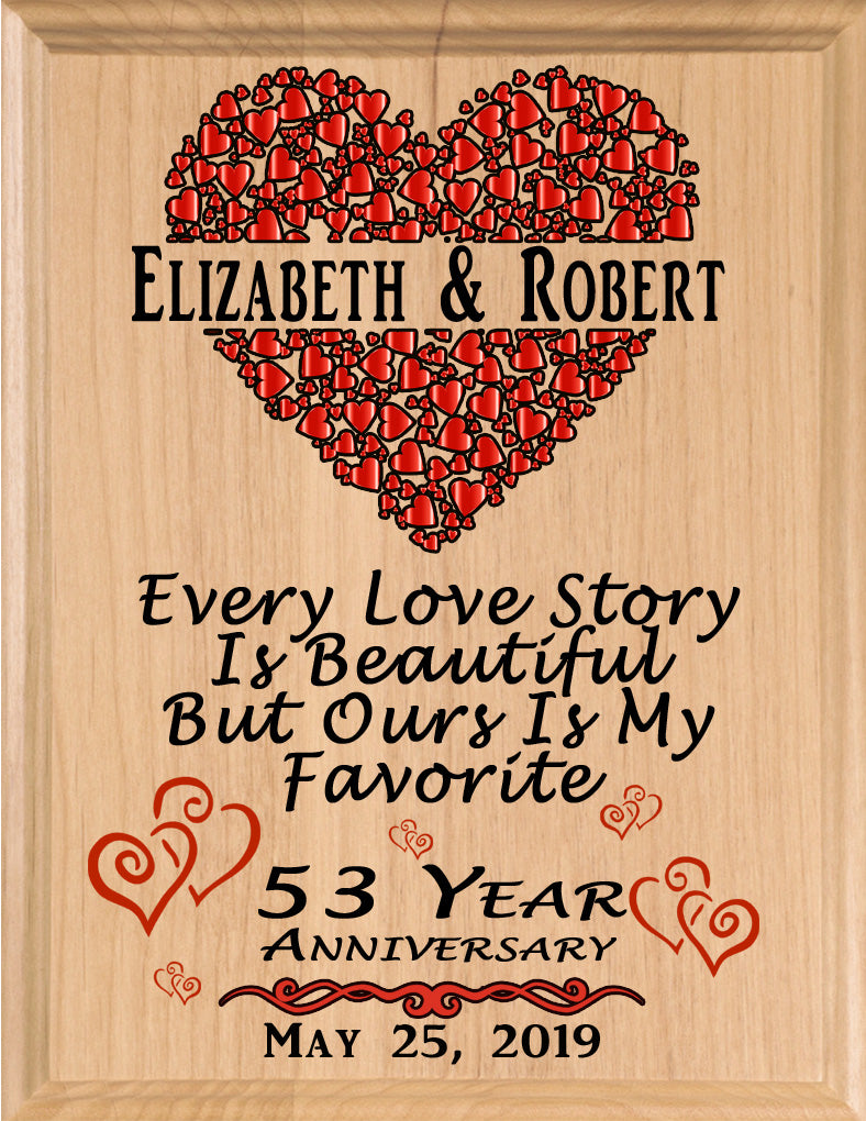 Personalized 53 Year Anniversary Gift Sign Every Love Story