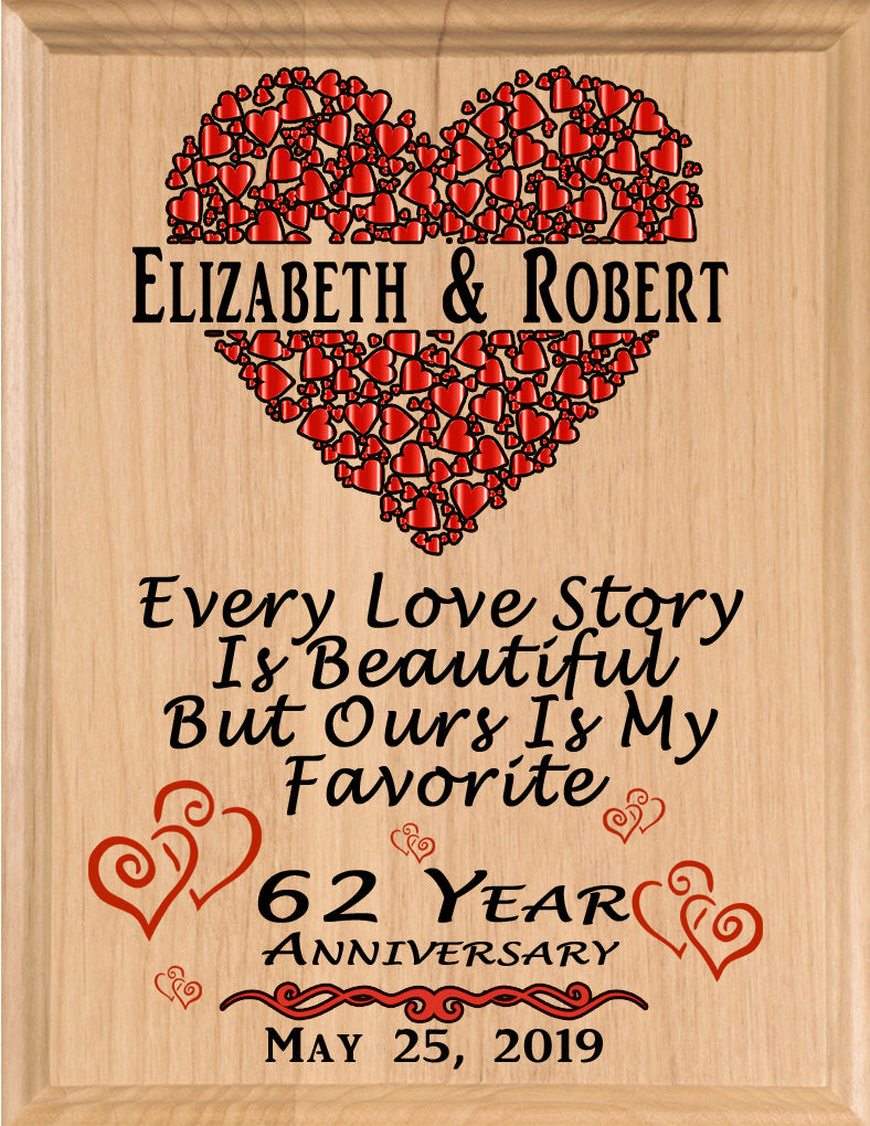 Personalized 62 Year Anniversary Gift Sign Every Love Story