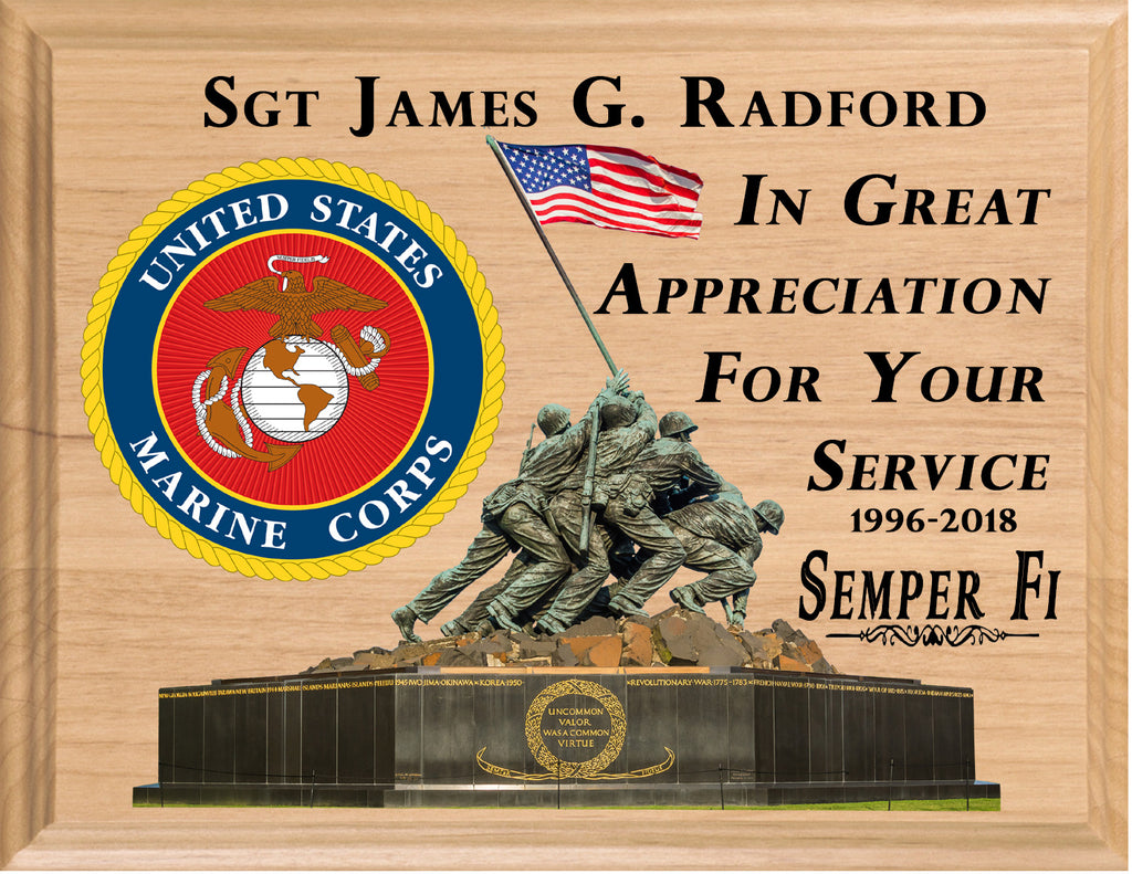 Personalized Marine Retirement Gift Plaque Service Recognition